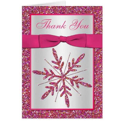 La foto de plata rosada del copo de nieve del tarjeta pequeña