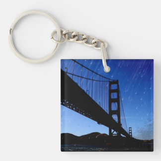 La foto de puente Golden Gate corrige - noche Llavero Cuadrado Acrílico A Doble Cara