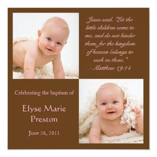 """La foto del bautismo invita con verso de la biblia invitación 5.25"""" x 5.25"""""""