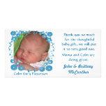 La foto del bebé le agradece las tarjetas tarjeta fotografica