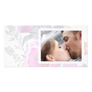 La foto del boda de la colección de los Hollyhocks Tarjeta Personal Con Foto