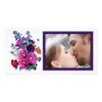 La foto del boda de la colección de los Hollyhocks Tarjetas Personales Con Fotos