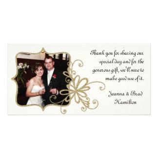 La foto del boda de la marfil y del oro le tarjetas fotograficas personalizadas