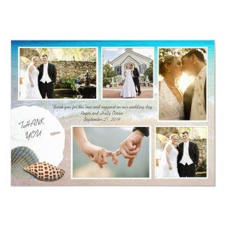 """La foto del boda de playa le agradece las tarjetas invitación 5"""" x 7"""""""