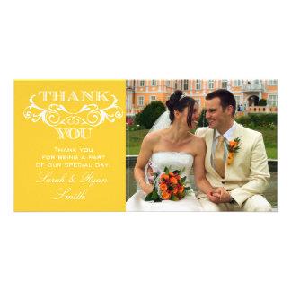 La foto del boda del amarillo del remolino del tarjeta fotografica