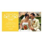 La foto del boda del amarillo del remolino del vin tarjeta fotografica