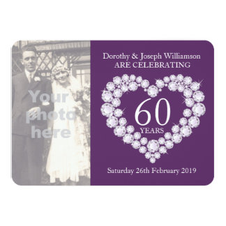 La foto del boda del corazón del diamante 60 años invitación 11,4 x 15,8 cm