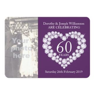 """La foto del boda del corazón del diamante 60 años invitación 4.5"""" x 6.25"""""""