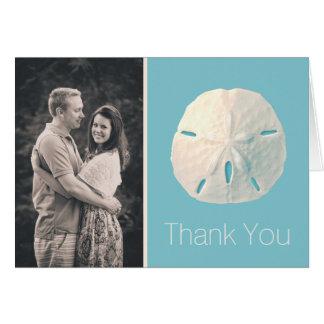 La foto del boda del dólar de arena le agradece tarjeta pequeña