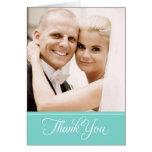 La foto del boda le agradece aguamarina de las tar tarjetón