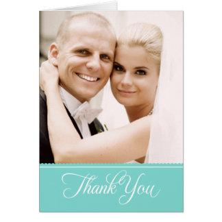 La foto del boda le agradece aguamarina de las tarjeta pequeña