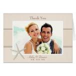 La foto del boda le agradece arena de las tarjetas