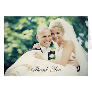 La foto del boda le agradece estilo doblado el   tarjeta pequeña