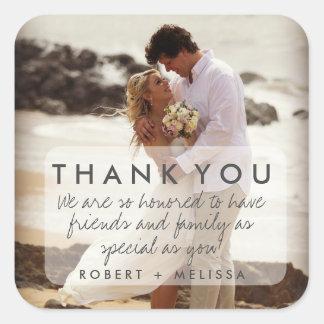 La foto del boda le agradece favorecer a los pegatina cuadrada