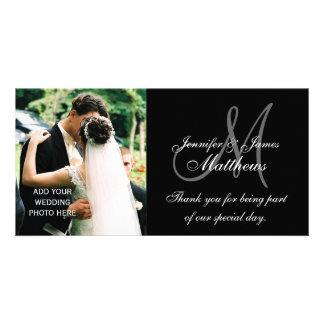 La foto del boda le agradece las tarjetas con negr tarjeta fotográfica personalizada