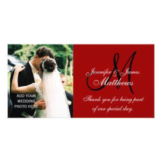 La foto del boda le agradece las tarjetas con rojo tarjeta fotográfica