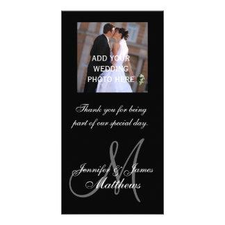 La foto del boda le agradece los nombres del monog tarjetas personales con fotos