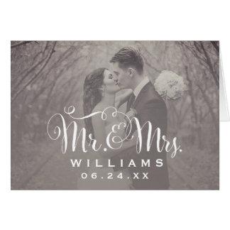 La foto del boda le agradece observar el estilo tarjeta pequeña