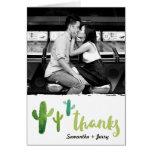 La foto del cactus de la acuarela le agradece tarjeta pequeña