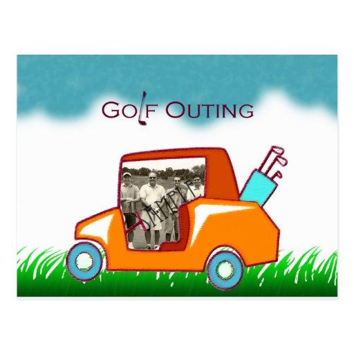 La foto del carro de golf invita postal