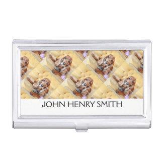 La foto del mascota personaliza el monograma cajas de tarjetas de presentación