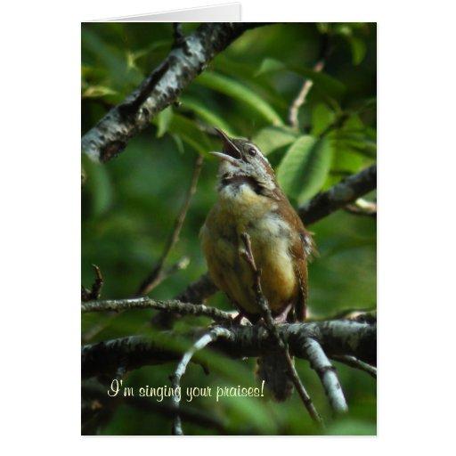 La foto del pájaro del canto le agradece cardar felicitación