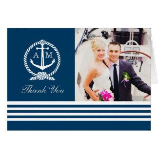 La foto doblada le agradece observa rayas náuticas tarjeta pequeña