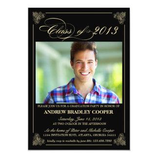La foto elegante con clase 2013 de la graduación invitación 12,7 x 17,8 cm