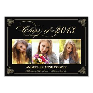 """La foto elegante con clase 2013 de la graduación invitación 5"""" x 7"""""""