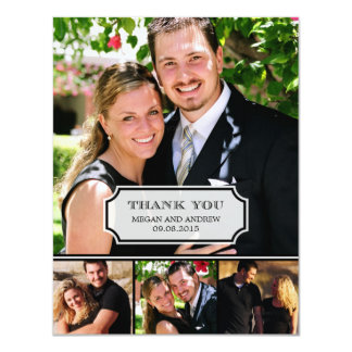 """La foto elegante del boda de la etiqueta le invitación 4.25"""" x 5.5"""""""