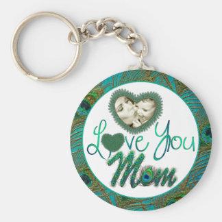 La foto enmarcada corazón del día de madre adornó llavero redondo tipo pin