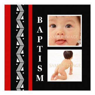 La foto enrrollada del bebé del bautismo PERSONALI Invitaciones Personalizada