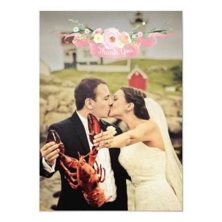 """La foto floral del boda de la acuarela le agradece invitación 5"""" x 7"""""""