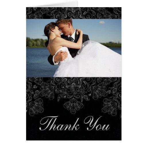 La foto floral negra elegante del boda del tarjeta de felicitación