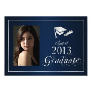 La foto graduada azul y de la plata con clase 2013 anuncio personalizado