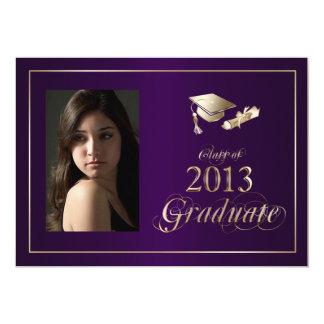 La foto graduada con clase de la púrpura y del oro anuncio personalizado