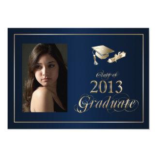 """La foto graduada con clase del azul y del oro 2013 invitación 5"""" x 7"""""""