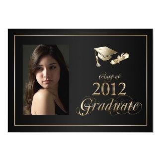 """La foto graduada con clase del negro y del oro invitación 5"""" x 7"""""""
