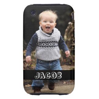 La foto grande personaliza su propia banda negra funda resistente para iPhone 3