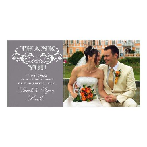 La foto gris del boda del remolino del vintage le  plantilla para tarjeta de foto
