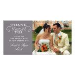 La foto gris moderna del boda le agradece las tarj tarjetas fotográficas