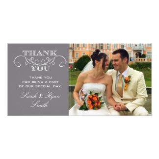 La foto gris moderna del boda le agradece las tarjeta con foto personalizada