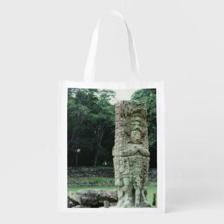 La foto maya antigua de Copan de las ruinas diseñó Bolsas Para La Compra