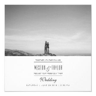 """La foto moderna y mínima del boda invita invitación 5.25"""" x 5.25"""""""