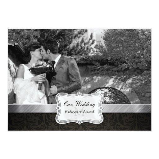 "La foto negra elegante del boda del damasco invita invitación 5"" x 7"""