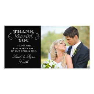 La foto negra y blanca moderna del boda le agradec tarjetas fotográficas personalizadas