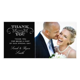 La foto negra y blanca moderna del boda le agradec tarjetas fotograficas