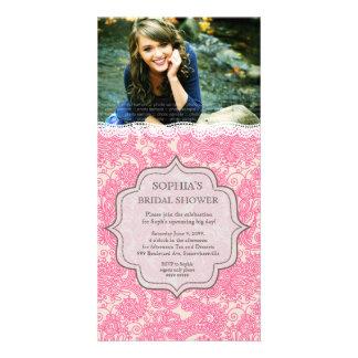 La foto nupcial de Paisley del cordón del rosa de  Plantilla Para Tarjeta De Foto
