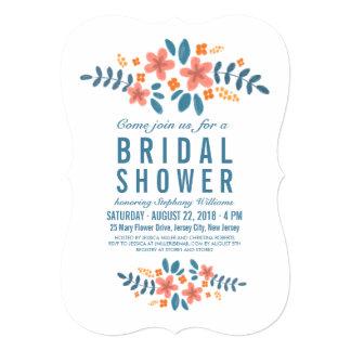 """La foto nupcial floral azul anaranjada de la ducha invitación 5"""" x 7"""""""