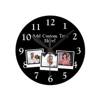 La foto personalizada 3-Photo enmarca color de Reloj Redondo Mediano
